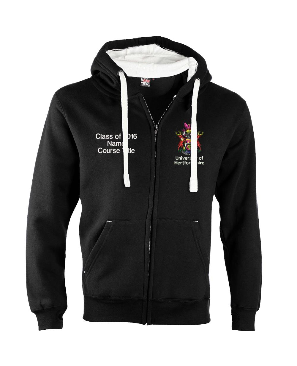 W81PF-Embroidered Ultra-Premium Graduation Zip Hoodie-Hertfordshire Ultra Soft Feel Hooded Top